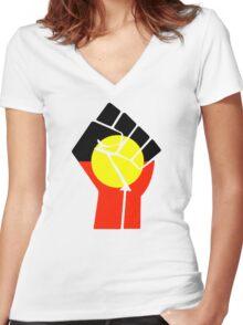 Raised Fist - Aboriginal Flag Women's Fitted V-Neck T-Shirt