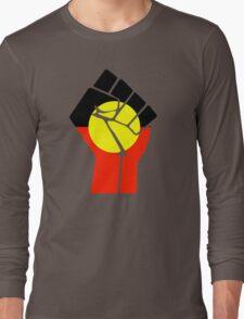 Raised Fist - Aboriginal Flag Long Sleeve T-Shirt