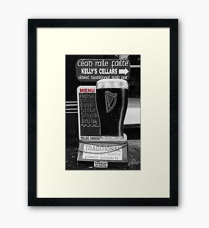 Belfast 6.12.09 - Menu Framed Print