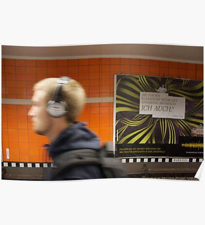 Commuter on platform in Hamburg, Germany Poster
