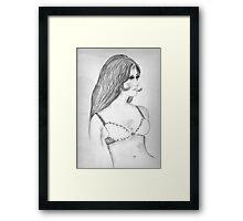 Retro 1970s Fashion Model Sketch Framed Print
