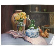 Yellow Flowers and Chinese Jar Poster