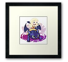 Elsa and Toothless Train Dragon Framed Print