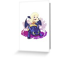 Elsa and Toothless Train Dragon Greeting Card