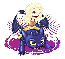 Elsa and Toothless Train Dragon Photographic Print