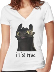 Toothless Its Me Face Women's Fitted V-Neck T-Shirt
