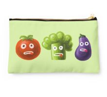 Tomato Broccoli and Eggplant Funny Cartoon Vegetables Studio Pouch