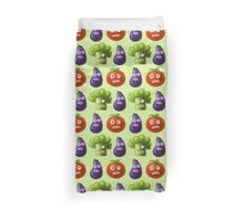 Tomato Broccoli and Eggplant Funny Cartoon Vegetables Duvet Cover