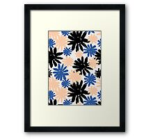Pink, Blue and Black Floral Pattern Framed Print