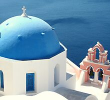 Blue-domed Church on Santorini by Laurel Talabere