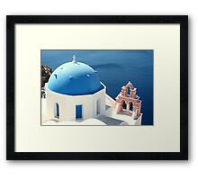 Blue-domed Church on Santorini Framed Print