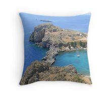 Mediteranean Sea from the Acropolis at Lindos, Rhodes Throw Pillow