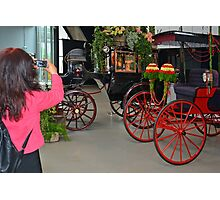 Recording carriages with flowers Photographic Print