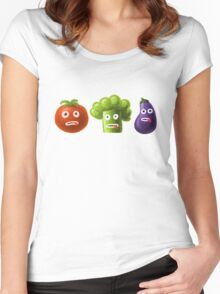 Tomato Broccoli and Eggplant Funny Cartoon Vegetables Women's Fitted Scoop T-Shirt