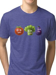 Tomato Broccoli and Eggplant Funny Cartoon Vegetables Tri-blend T-Shirt
