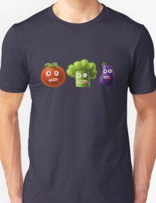 Tomato Broccoli and Eggplant Funny Cartoon Vegetables Unisex T-Shirt
