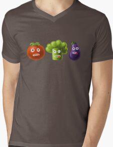 Tomato Broccoli and Eggplant Funny Cartoon Vegetables Mens V-Neck T-Shirt