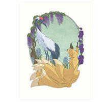 Kitsune and Crane Art Print