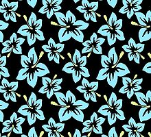 Trendy baby blue yellow black tropical flowers by Maria Fernandes