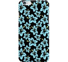 Trendy baby blue yellow black tropical flowers iPhone Case/Skin