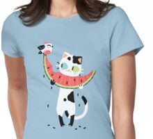 Watermelon Cat Womens Fitted T-Shirt