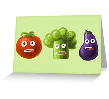 Tomato Broccoli and Eggplant Funny Cartoon Vegetables Greeting Card