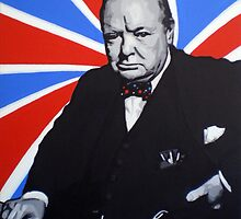 Winston Churchill and Trippy Union Jack by Patrick Hawkins
