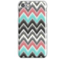Trendy teal coral gray black ikat pattern iPhone Case/Skin