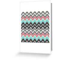 Trendy teal coral gray black ikat pattern Greeting Card