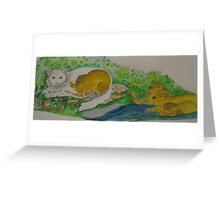 The continuing series of king cat and beavers Greeting Card