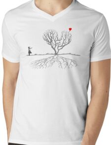Banksy Heart Tree Mens V-Neck T-Shirt