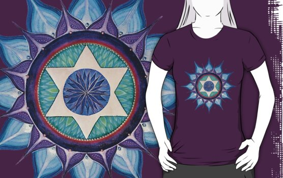 Mandala Tee, Hoodie, Sticker : Blooming Star by danita clark