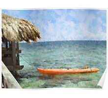 Beach hut and kayak Poster