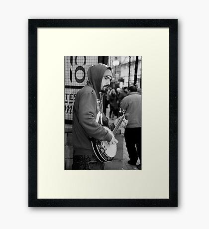 Belfast 6.12.09 - Banjo Busker Framed Print
