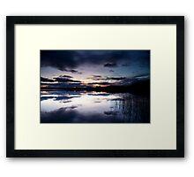 Blue sky at night, Lake of Menteith, Scotland Framed Print