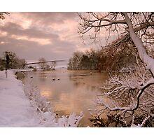 Winter scene at Falmer Pond Photographic Print