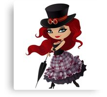 Beauty red-haired girl with umbrella Canvas Print