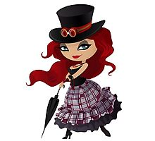 Beauty red-haired girl with umbrella Photographic Print