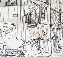 Reflections In A Glass Door ( Quick Sketch ) by Richard  Tuvey