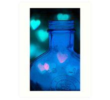 I Heart Blue Bottles Art Print