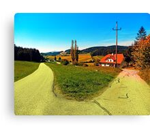 Countryside road with two options Canvas Print