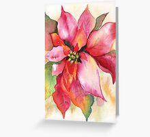 Christmas Poinsettia Watercolor Marsha Woods Greeting Card
