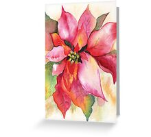 Christmas Poinsettia Watercolor Marsha Woods Greeting Card