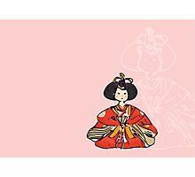 Japanese Hina Doll (Pink Background) Photographic Print