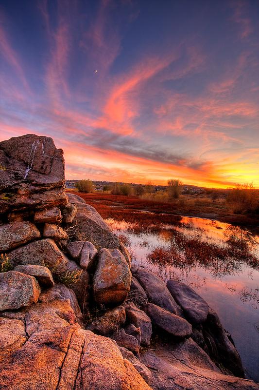 Rock Wall Sunset  by Bob Larson