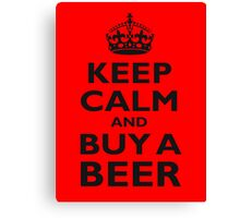 KEEP CALM, BUY A BEER, ON RED Canvas Print