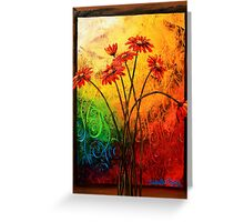 Red Daisies in a Frame Greeting Card