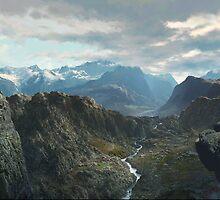 Himalayan Vista - digital paint, no photo composites  (2002) by John Fraser