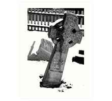 Snow-covered tombstone Art Print