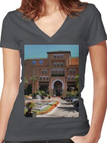 a desolate Morocco landscape Women's Fitted V-Neck T-Shirt